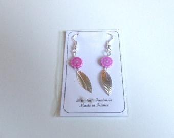 Earrings vintage art designer Fleur Mauv' Silver