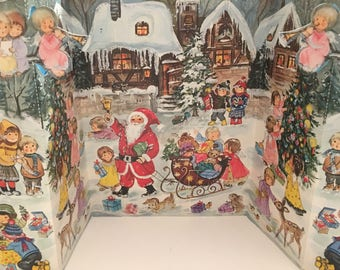 Vintage Advent Calendar Christmas Glittered NOS Unused Western Germany