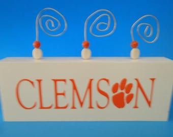 Clemson picture block holder, Clemson picture frame, Clemson sports gear, Clemson dorm decor
