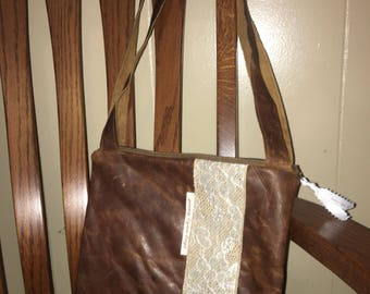 Brown leather handmade purse