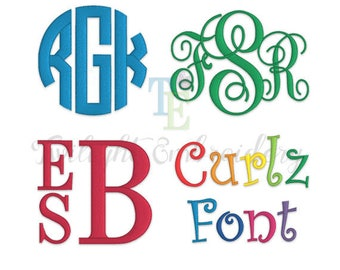 Monogram Embroidery Fonts, Embroidery Circle Monogram Font, Embroidery Vine Monogram Font, Embroidery Stacked Monogram Font, 0011