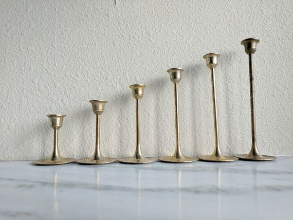 6 Vintage Solid Brass Candlesticks, Graduated Brass Candle Holder Set, Gold Wedding Candle Holders Decor, Simple Brass Tulip Candlesticks