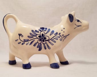 CREAMER COW BLUE Delft-like Hand Painted Porcelain Dutch Windmill Netherlands Cottage Holland Antique Vintage Retro