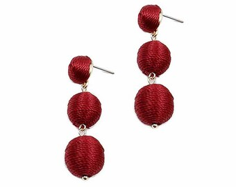 Gorgeous 3 Tiers Burgundy Silky Sheen Mini Disco Ball Drop Statement Earrings