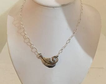 Sterling silver single leaf necklace with brass accents and sterling silver chain