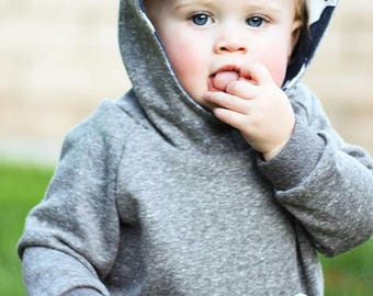 Baby Boy Hoodie - Hooded Sweatshirt for Baby -  Gray & Navy Deer - Take Home Outfit Boy - Modern Baby Clothes - Bucks Sweatshirt
