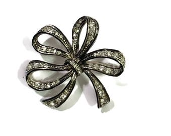 Marcasite Brooch, Silver Tone , Bow, Ribbon, Mid Century Jewelry , 1950s-1960s