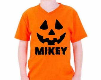 Youth Personalized Jack-O-Lantern Halloween T-Shirt in Orange