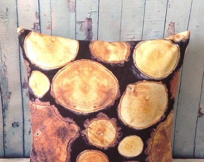 """Xmas Wood Pillow Cover, Log Pillow, 20""""x20"""",Pillow in Brown, Beige and Black,Slices Pillow Cover, Case Cover"""