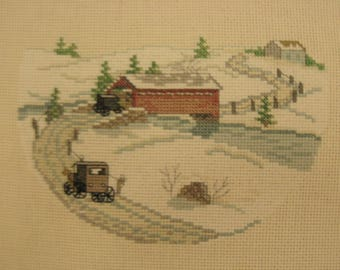 """Snowy Winter Scene Vintage Cross-Stitch Panel- Evokes a """"Turn-of-the-Century"""" Late Victorian - Frame or Make a Pillow!"""