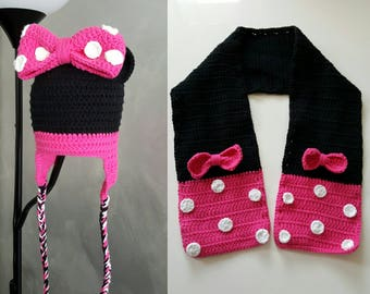 crocheted child hat with scarf minnie