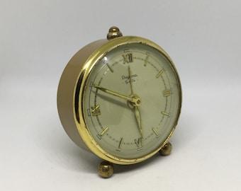 Dugena Alarm clock, vintage Alarm clock, German Alarm Clock, 50s retro clock, Vintage Desk Clock, Office Clock, Mechanical Clock