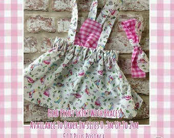 Little bird print strappy dress and matching head band 3-6m, 6-9m *made to order*