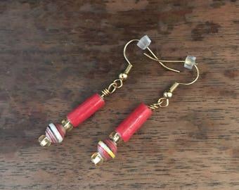 New Red Paper Bead Earrings