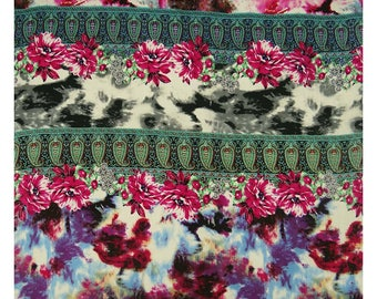 """Upholstery Fabric, Floral Print, Multicolor Fabric, Dressmaking Fabric, Indian Decor, 42"""" Inch Cotton Fabric By The Yard ZBC8040A"""