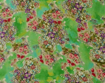 Indian Dress Fabric, Floral Print, Designer Cotton Fabric, Green Fabric, Sewing Crafts, 43'' Inch Cotton Fabric By The Yard ZBC9135C