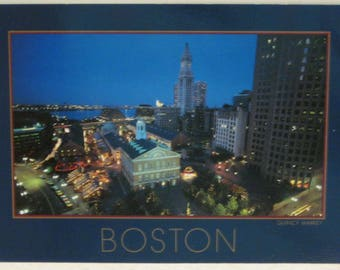 Boston At Night Quincy Market Postcard