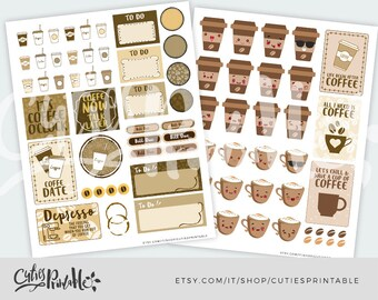 Coffee Stickers • Printable Planner Stickers • Coffee Cup Stickers • Kawaii Stickers • Planner Accessories • Cute Stickers • Planner