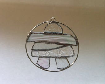 INUKSHUK -  Stained Glass – Clear Figured Glass - Canadiana – Symbol of Canada's North