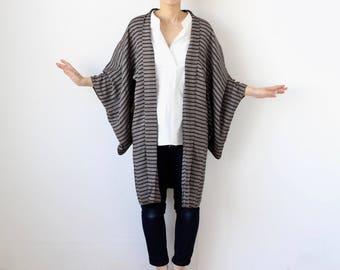 gray kimono, silk kimono, haori, vintage stripe robe, Japanese kimono /1754