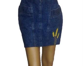1980s Vintage mini skirt/dress/skirt/blue jeans denim high waist