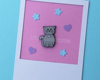 British Blue Shorthair Cat Enamel Lapel Pins Cat Enamel Pin Badge Enamel Pin Grey Cat Collector Cat Badge Cat Lover Gift Enamel Cat Pin