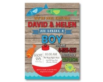 Fishing Baby Shower Invitation. Fishing Invitation. Boy Fish Baby Shower Invite. Fisherman. O-Fish-Ally. Printable Digital.
