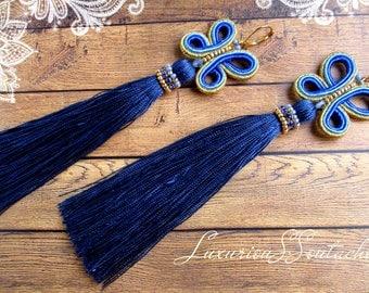 Oscar renta earrings Soutache Oscar tassel earring Long Orecchini Soutache butterfly earrings Blue silk Tassle Earrings Gift for wife sister