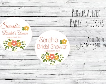 Custom Summer Flower Fun Thank You Bridal Shower Stickers, Favor Tags, Labels, Wedding Labels, Wedding Favour Stickers,