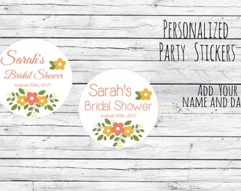 Custom Summer Flower Fun Retro Thank You Bridal Shower Stickers, Favor Tags, Labels, Wedding Labels, Wedding Favour Stickers,