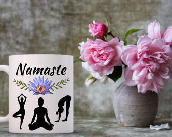 Namaste Mug | Funny Coffee Mug | Namaste Mug | Yoga Love | Yogi | Om | Gifts for Yoga | Lotus Flower