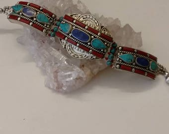 Red Coral, Lapis and Turquoise Bracelet