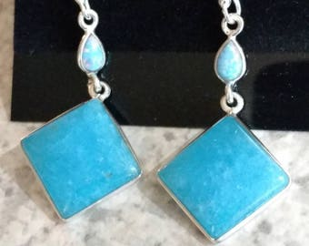 Smithsonite and Opal Earrings
