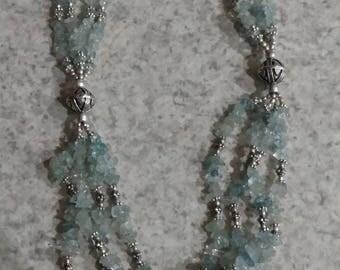 Three Strand Aquamarine Necklace