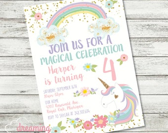 Unicorn Rainbows and Flowers Magical Birthday Invitation with Gold Confetti