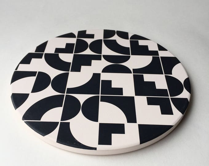 Modern trivet stone, absorbent stone trivet, geometric trivet, black and white, shapes, memphis, for her, for him, beer gift, housewarming