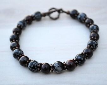 Obsidian and jasper bracelet, Red jasper bracelet, Obsidian bracelet, Beaded obsidian and jasper bracelet, Genuine obsidian bracelet.