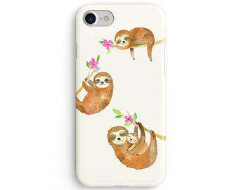 Watercolor sloths sleeping  iPhone X case - iPhone 8 case - Samsung Galaxy S8 case - iPhone 7 case - Tough case 1P021