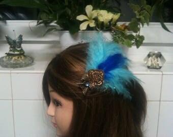 Royal blue Headband shabby bronze fantasy feather,blue swarovski cristal/serre tete shabby plume bleu, plume fantaisie turquoise,perles bleu