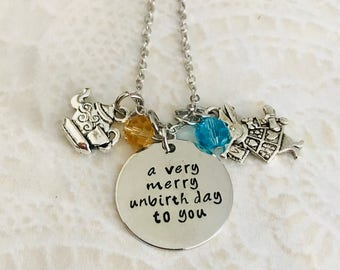Disney Alice in wonderland a very merry unbirthday to you charm necklace