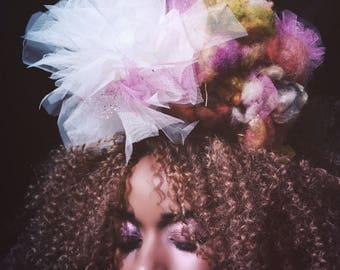 Tulle pom pom and wool wig headdress - candyfloss!
