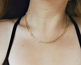 Thick Gold Chain Necklace / Gold Chain Statement Necklace / Gold Layering Necklace