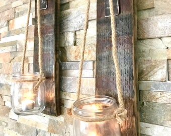 Wall sconces- candle holders - rustic tealight holders - hanging jars - rustic sconces - Scotch whisky gift