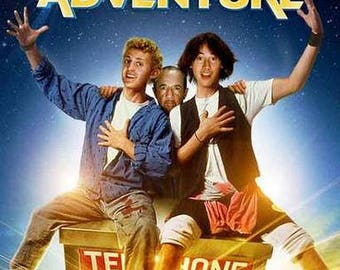 Bill and Ted's Excellent Adventure   Keanu Reeves, Alex Winter, and George Carlin   Rare Vintage Poster