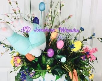 Easter Centerpiece, Spring Easter Centerpiece, Bunny Butt,floral centerpiece, Spring Centerpiece, Table Decor, Easter Decor
