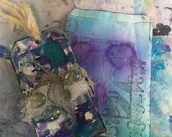 Mixed media art tags for gifts