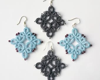Rhombus lace tatted dangle earrings with beads and silver hooks