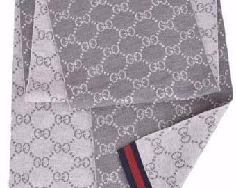 Gucci Wool Grey Reversible GG Guccissima Scarf Muffler