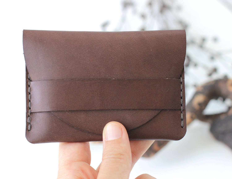 Brown Leather Mens Wallet, Minimalist Slim Wallet, Leather ...