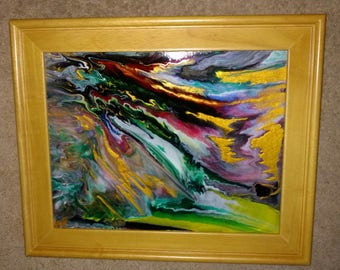 Abstract, fluid art, canvas painting
